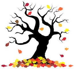 Baumsilhouette mit Herbstlaub