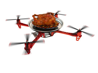 Waitress drone with a roast Chicken on tray
