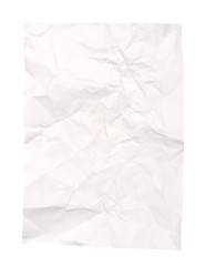 Vintage crumpled white paper isolated on white background