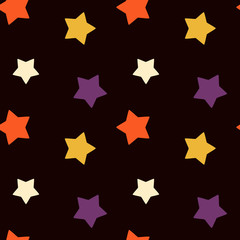 Halloween texture with colorful stars seamless vector pattern background illustration