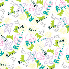 Cheerful children's pattern with the image of dinosaurs /Cheerful children's pattern with the image of dinosaurs on a white background