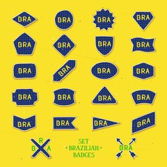 Collection of twenty two handmade badges with abbreviation Brazil - BRA. 22 Vector eps 10