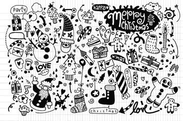 Hand drawn Christmas icon's set doodle