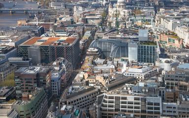 LONDON, UK - SEPTEMBER 17, 2015:  City of London aerial view, river Thames. London panorama form 32 floor of Walkie-Talkie building