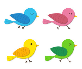 Set of happy baby bird in flat style