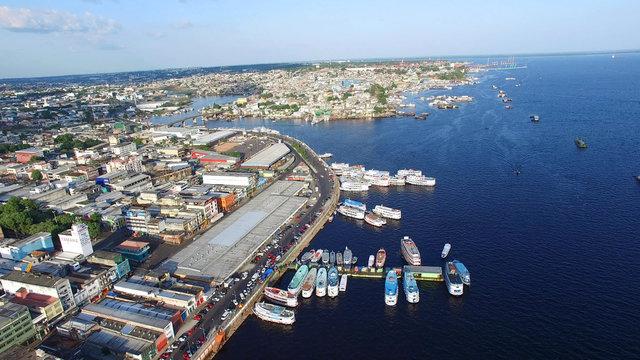 Aerial View of Port of Manaus, Amazonas Brazil