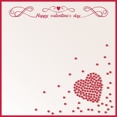 Valentine's Day card with loose red beads in the shape of heart. Abstract vector background eps10