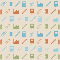 Seamless background with office icons for your design