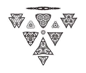 Vector triangular ornament set. Tribal art isolated on white background. Geometric ornament set.