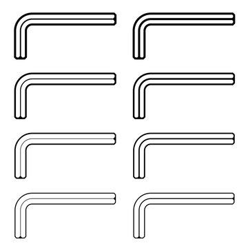 vector allen unbrako inbus key black line symbols