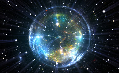 Spherical energetic quantum bubble