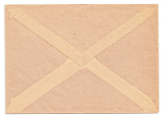 Rear side of vintage envelope isolated on white