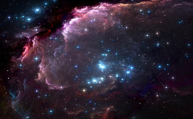 Group of bright blue massive stars in the nebula