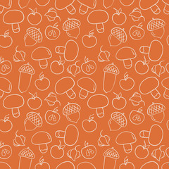Seamless autumn pattern with muchrooms, acorns, apples and physa