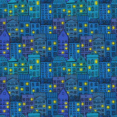 Seamless pattern with city at night