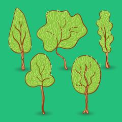 Set of autumn trees.