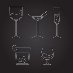 Set of dufferent drinks: wine, martini, champagne, whiskey, cogn