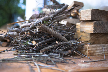 bounch of twig, sprig, logs from the garden for fireplace, stove kindling wood in the house