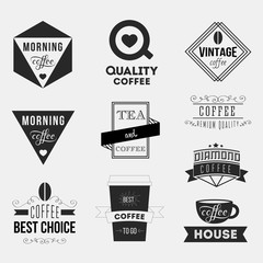 Set of vintage retro coffee Insignias or Logotypes