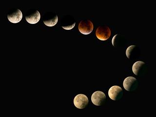 Arrangement der Mondphasen bei totaler Mondfinsternis mit Blutmond