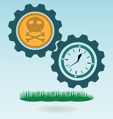 Gold coin with a skull and crossbones, clock. Symbol of pirates,