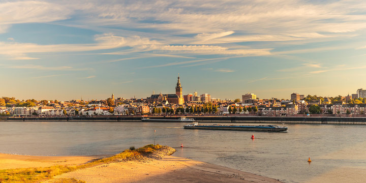 Panoramic view of the Dutch city of Nijmegen during sunset