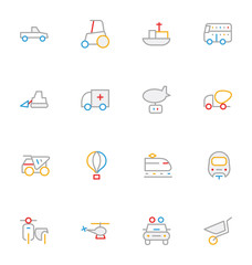 Transport Colored Outline Vector Icons 3