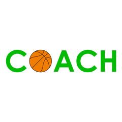 Icono plano texto COACH baloncesto verde #1