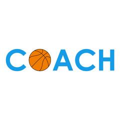 Icono plano texto COACH baloncesto azul #1