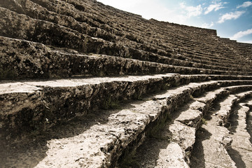 Stage of ancient ruined theatre in Turkey