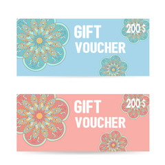Pink and blue Gift voucher template with color lace zentangle pa