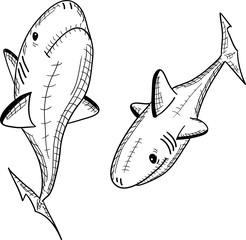 рыба акула на белом фоне, вектор