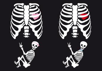 Skeleton baby boy and girl, vector set