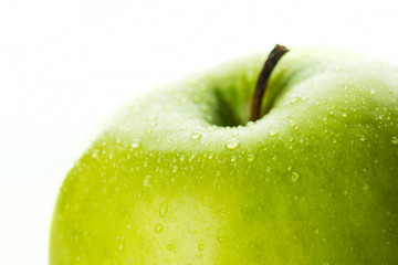Green apple close up. Selective focus.