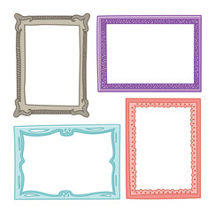 colorful vintage photo frame in doodle style