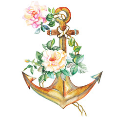 Watercolor golden anchor with roses flowers design.