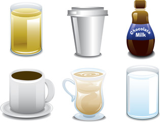 Illustrations of six different breakfast beverages or drinks.