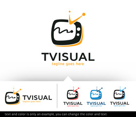 TV Visual Logo Template Design Vector