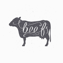 Hipster style cow silhouette. Beef meat hand lettering