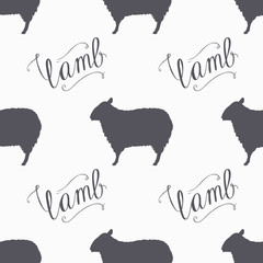 Hipster style sheep seamless pattern. Lamb meat hand lettering