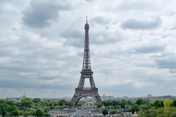 Panorama Eiffel Tower in Paris. The Eiffel tower is the most visited monument of France with about 6 million visitors every year.