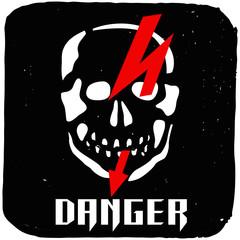 Vector skull with red lightning on grunge background