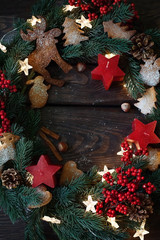 Homemade cookies with garland and Christmas decorations