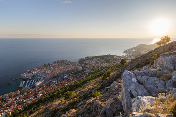 Scenic view of Dubrovnik's Old Town and beyond from the Mount Srd in Croatia.