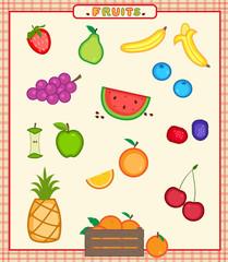 Fruits - Cartoon set of sixteen colorful fruits icons. Eps10