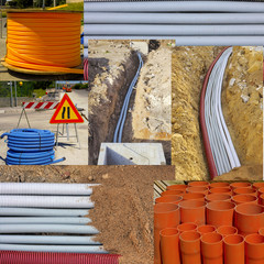 roll of corrugated conduit and bundle of red pvc pipes for underground pipelines sewer