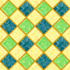 Abstract seamless marbled floor pattern of green, yellow and blue squares with orange grainy frame