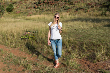 The girl in National park Ezemvelo. South Africa.