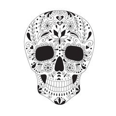 Skull with floral ornament.