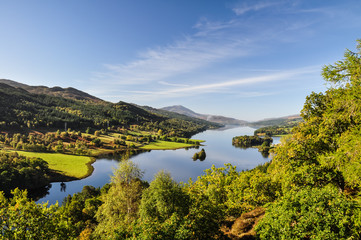 Beautiful summer view across Loch (Lake) Tummel seen from Queen's View, a famous viewpoint. Located near Pitlochry, Perthshire, Scotland, UK.